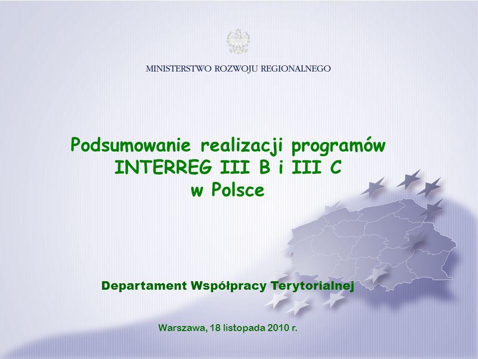 Podsumowanie realizacji programów INTERREG III B i III C