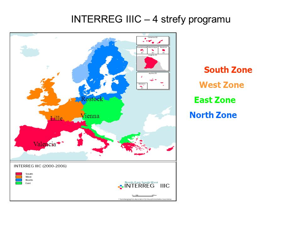 INTERREG IIIC – 4 strefy programu