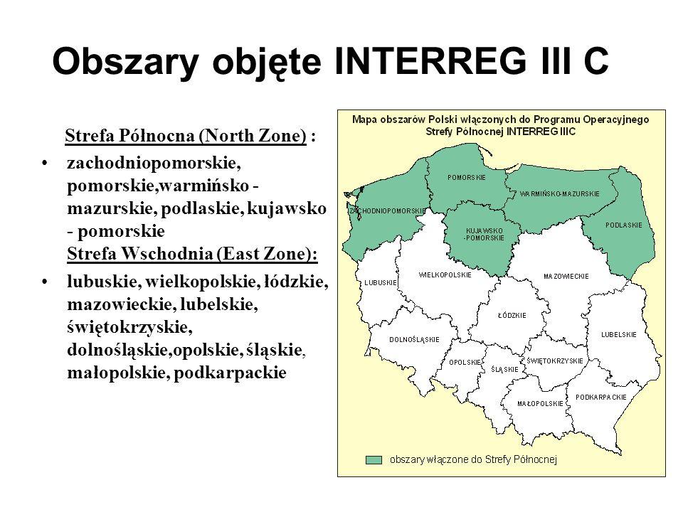 Obszary objęte INTERREG III C