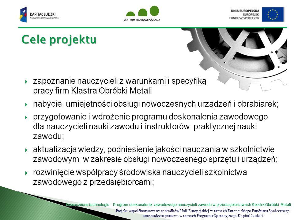 Cele projektu zapoznanie nauczycieli z warunkami i specyfiką pracy firm Klastra Obróbki Metali.