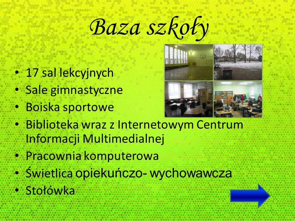 Baza szkoły 17 sal lekcyjnych Sale gimnastyczne Boiska sportowe