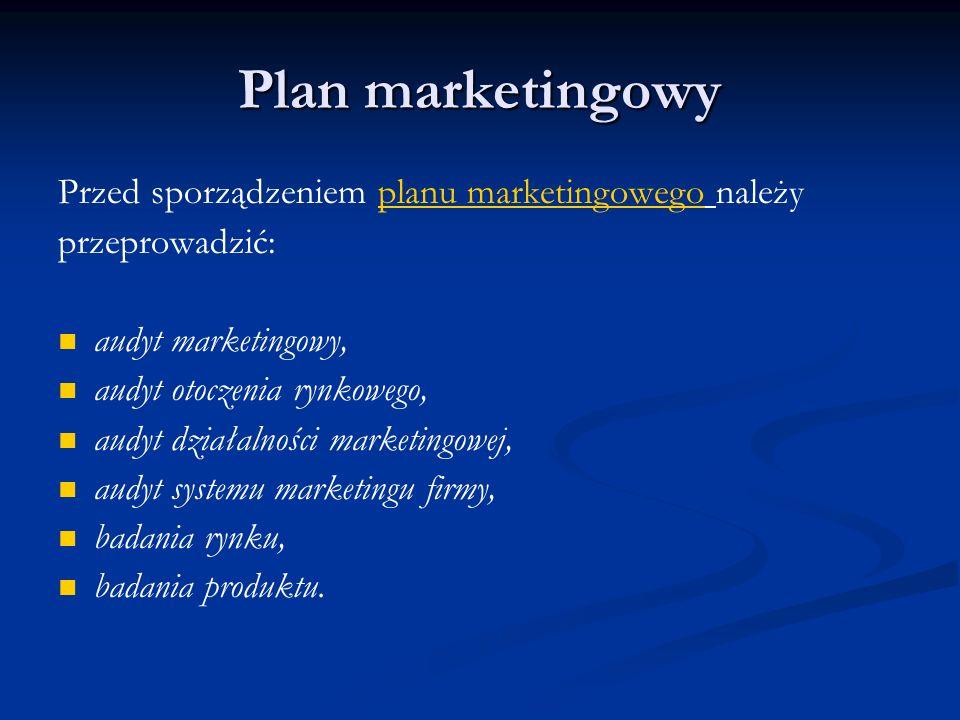Plan marketingowy Przed sporządzeniem planu marketingowego należy