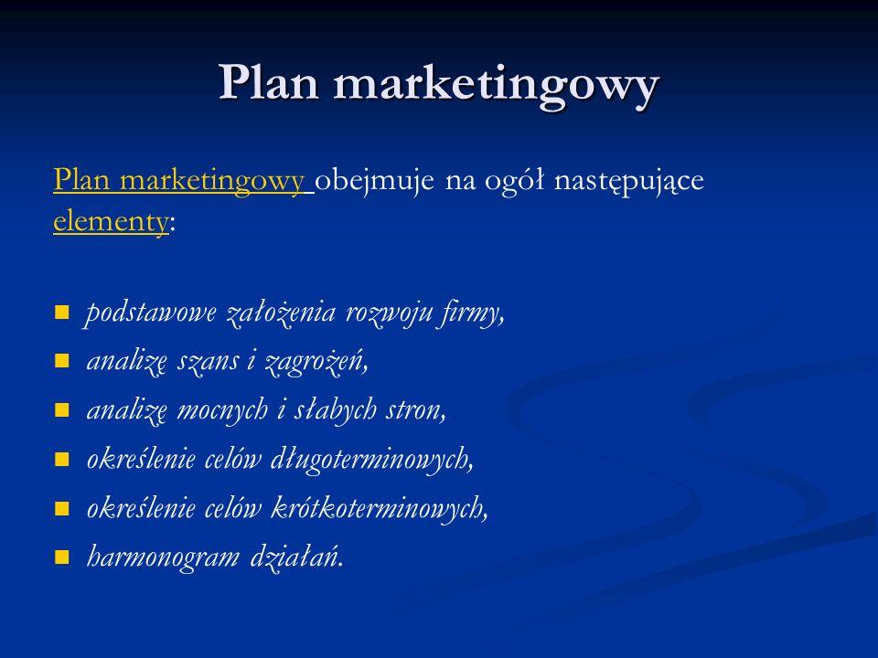 Plan marketingowy Plan marketingowy obejmuje na ogół następujące