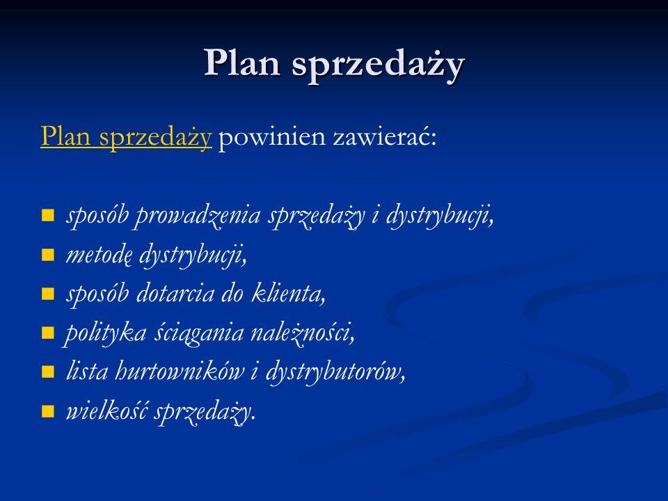 Plan sprzedaży Plan sprzedaży powinien zawierać: