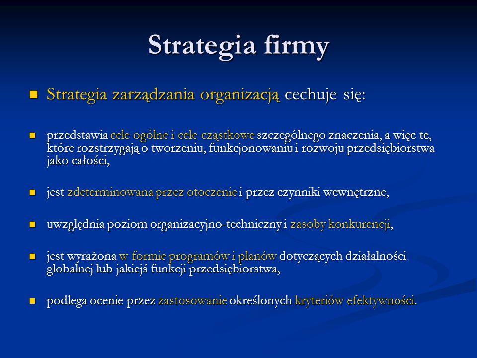 Strategia firmy Strategia zarządzania organizacją cechuje się: