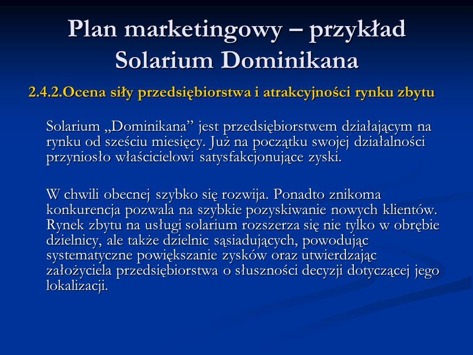 Plan marketingowy – przykład Solarium Dominikana