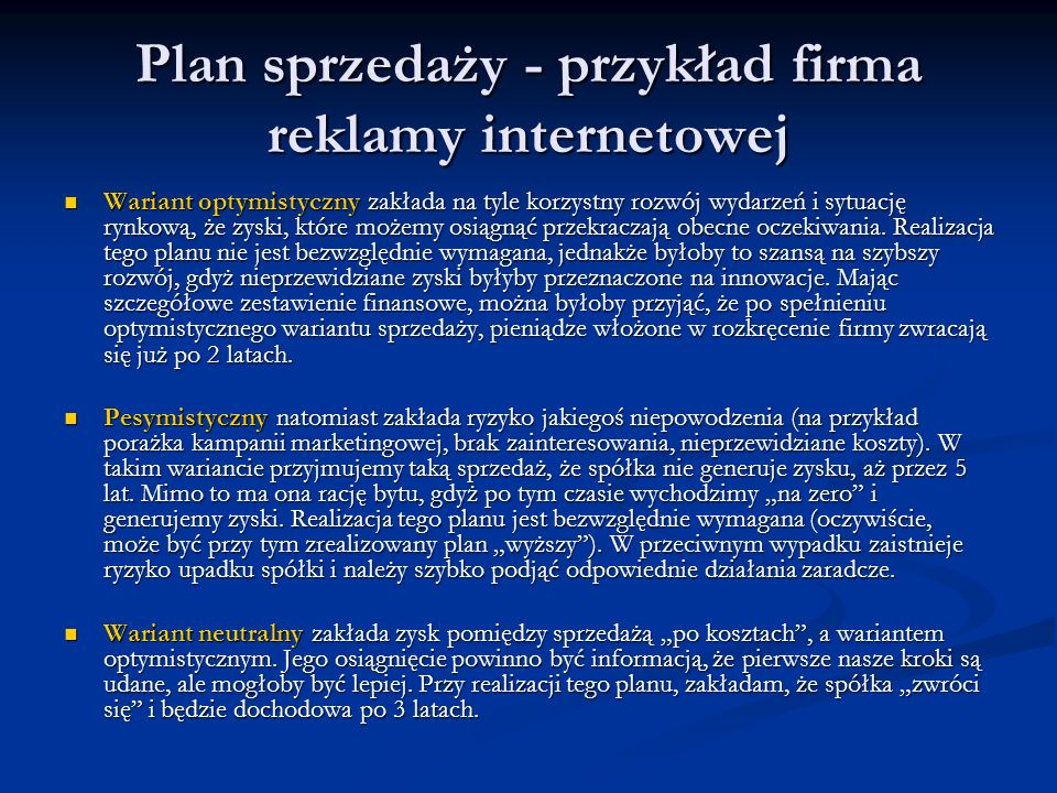 Plan sprzedaży - przykład firma reklamy internetowej
