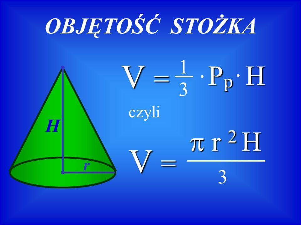 OBJĘTOŚĆ STOŻKA V = Pp H 1 3 H r czyli V =  r 2 H 3