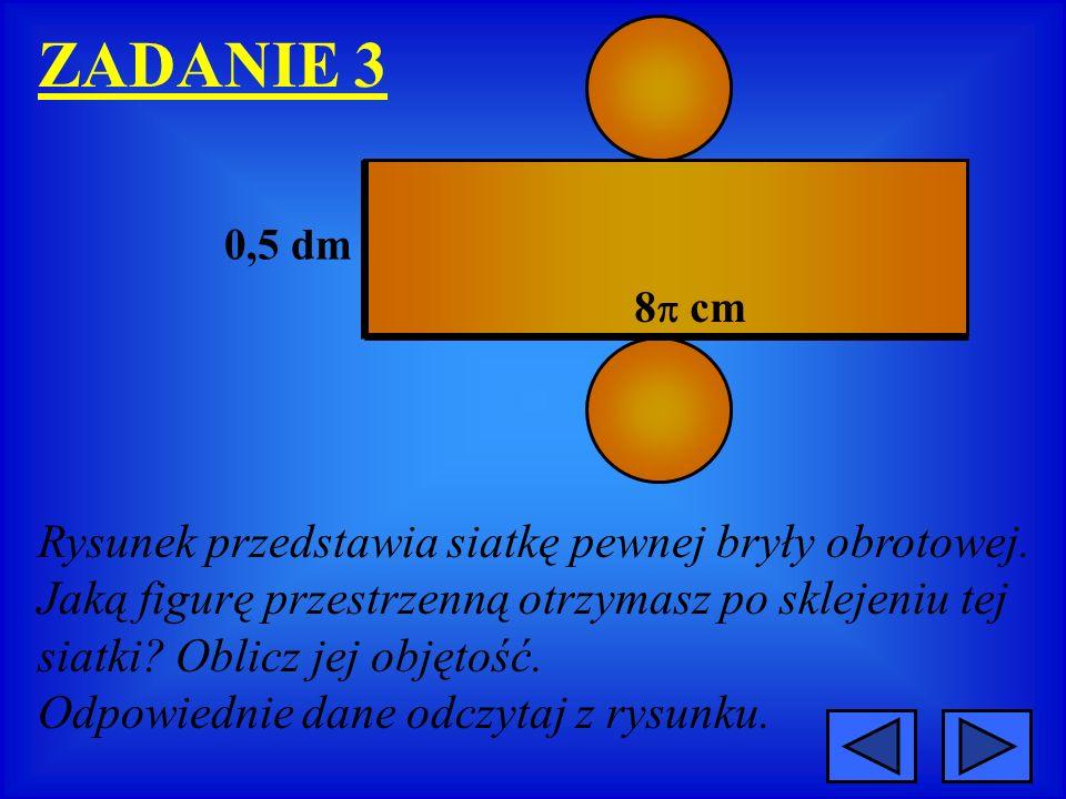 ZADANIE 3 Rysunek przedstawia siatkę pewnej bryły obrotowej.