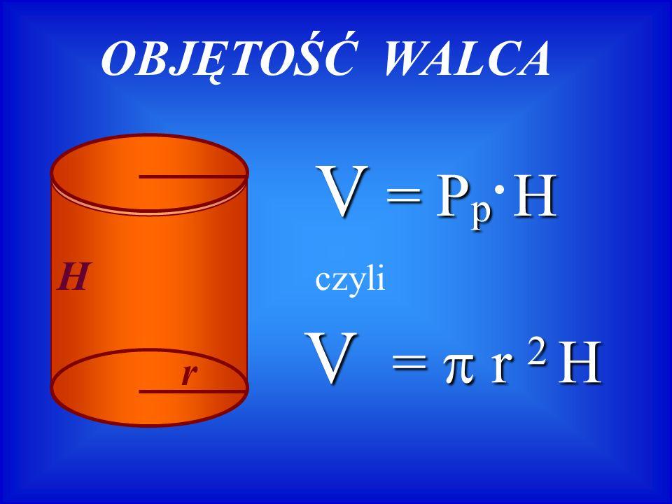 OBJĘTOŚĆ WALCA H r V = Pp H czyli V =  r 2 H