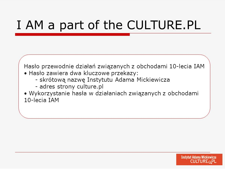 I AM a part of the CULTURE.PL