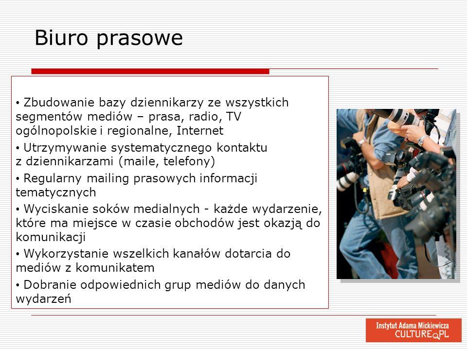 Biuro prasoweZbudowanie bazy dziennikarzy ze wszystkich segmentów mediów – prasa, radio, TV ogólnopolskie i regionalne, Internet.