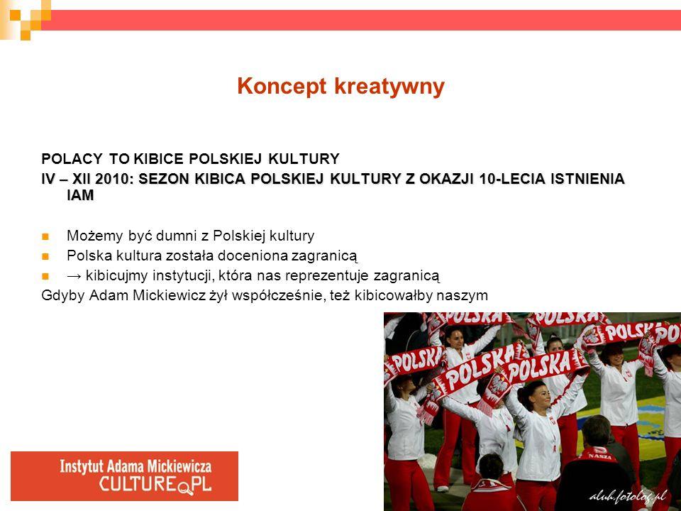Koncept kreatywny POLACY TO KIBICE POLSKIEJ KULTURY