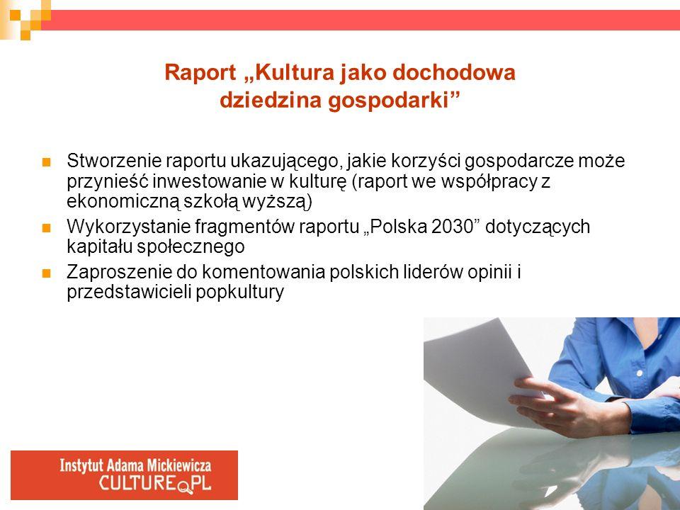 """Raport """"Kultura jako dochodowa dziedzina gospodarki"""