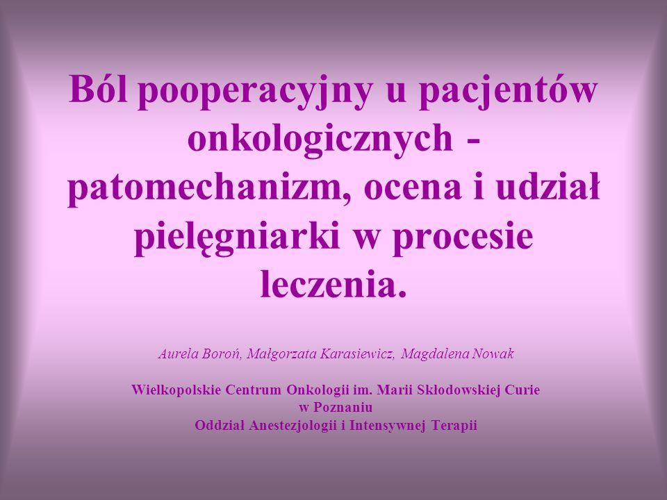 Ból pooperacyjny u pacjentów onkologicznych - patomechanizm, ocena i udział pielęgniarki w procesie leczenia.