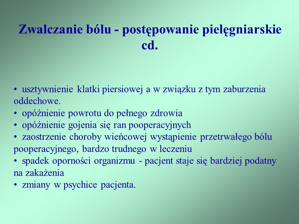 Zwalczanie bólu - postępowanie pielęgniarskie cd.