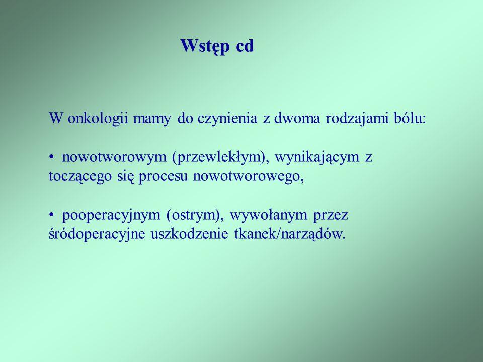 Wstęp cd W onkologii mamy do czynienia z dwoma rodzajami bólu: