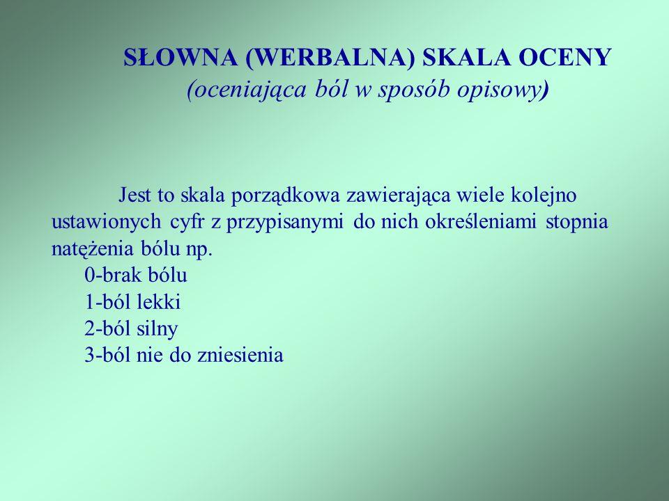 SŁOWNA (WERBALNA) SKALA OCENY (oceniająca ból w sposób opisowy)