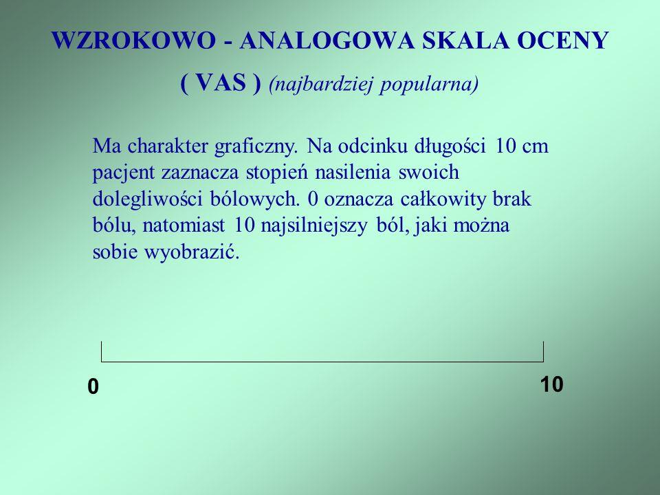 WZROKOWO - ANALOGOWA SKALA OCENY ( VAS ) (najbardziej popularna)