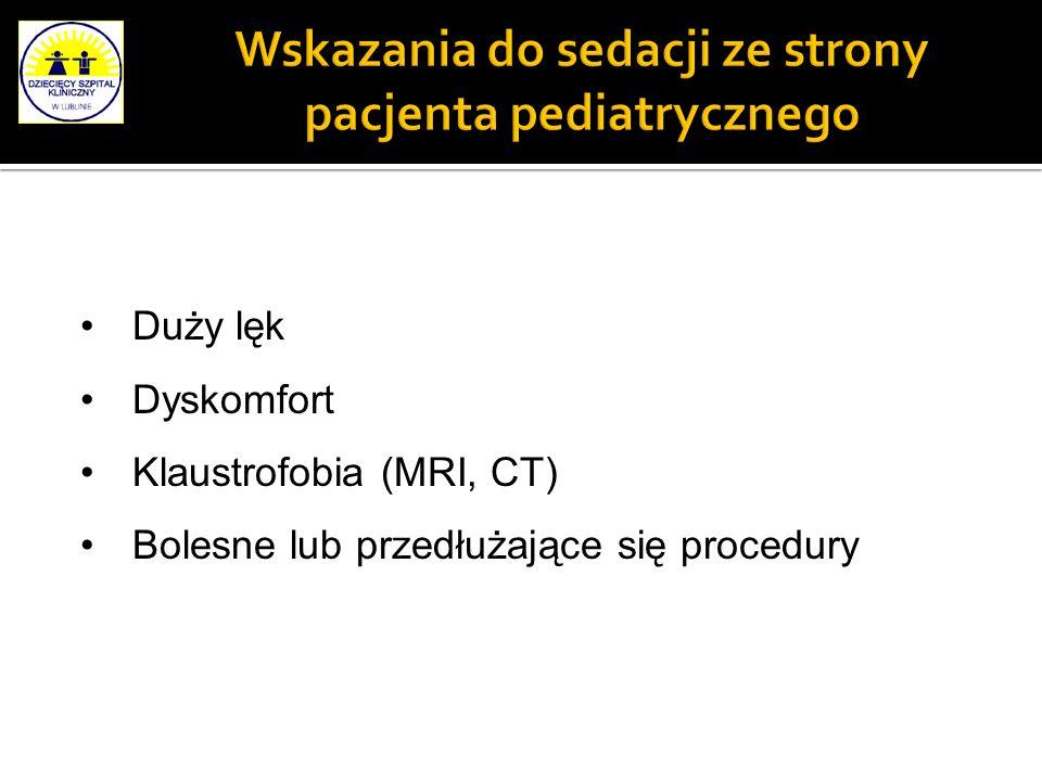 Wskazania do sedacji ze strony pacjenta pediatrycznego