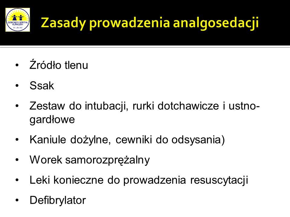Zasady prowadzenia analgosedacji