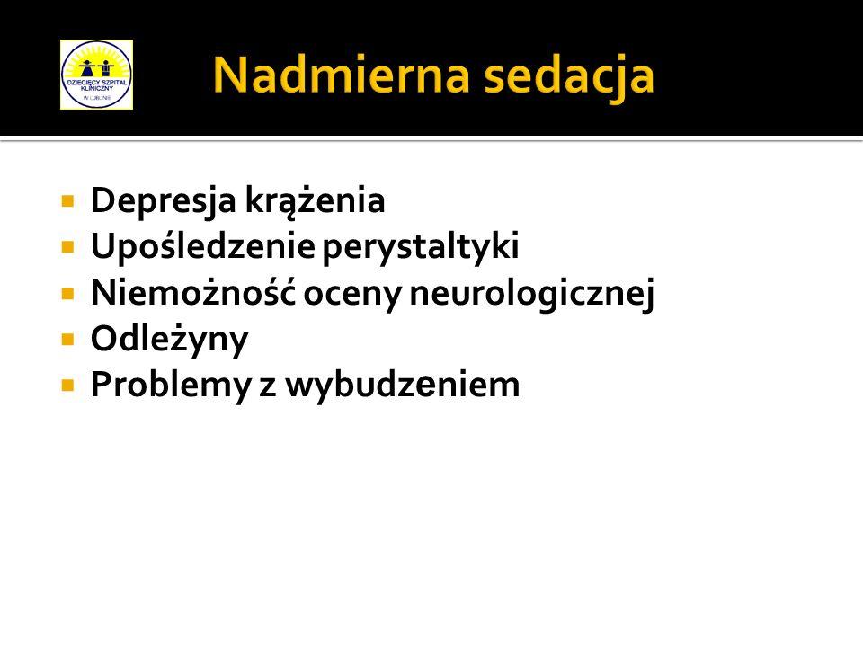 Nadmierna sedacja Depresja krążenia Upośledzenie perystaltyki