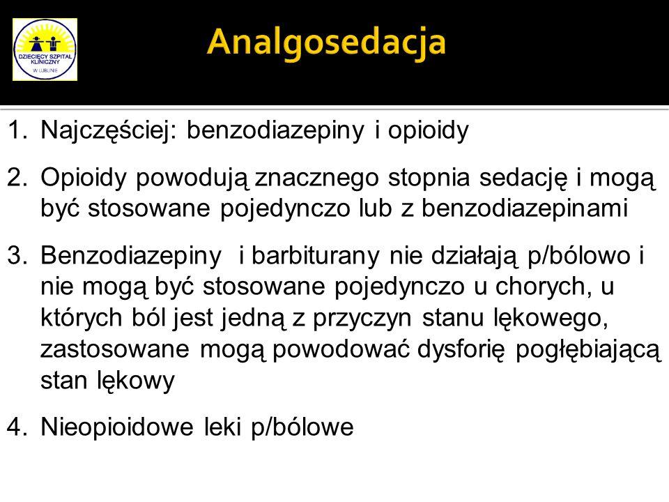 Analgosedacja Najczęściej: benzodiazepiny i opioidy