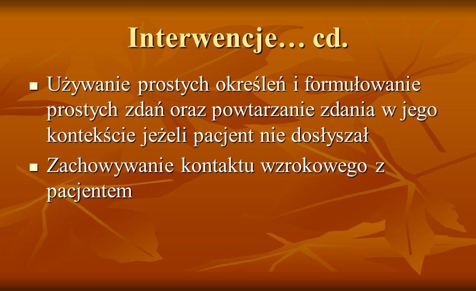 Interwencje… cd.Używanie prostych określeń i formułowanie prostych zdań oraz powtarzanie zdania w jego kontekście jeżeli pacjent nie dosłyszał.