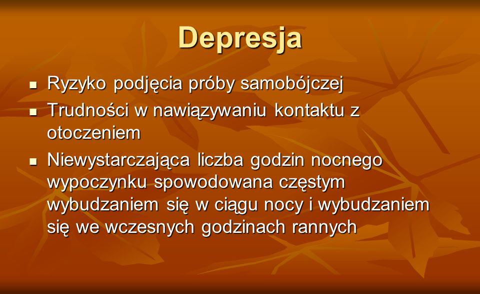 Depresja Ryzyko podjęcia próby samobójczej
