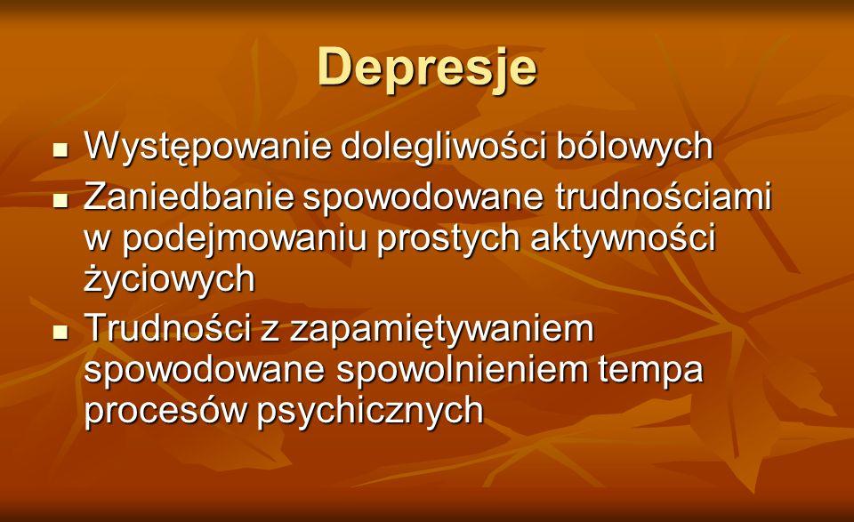 Depresje Występowanie dolegliwości bólowych