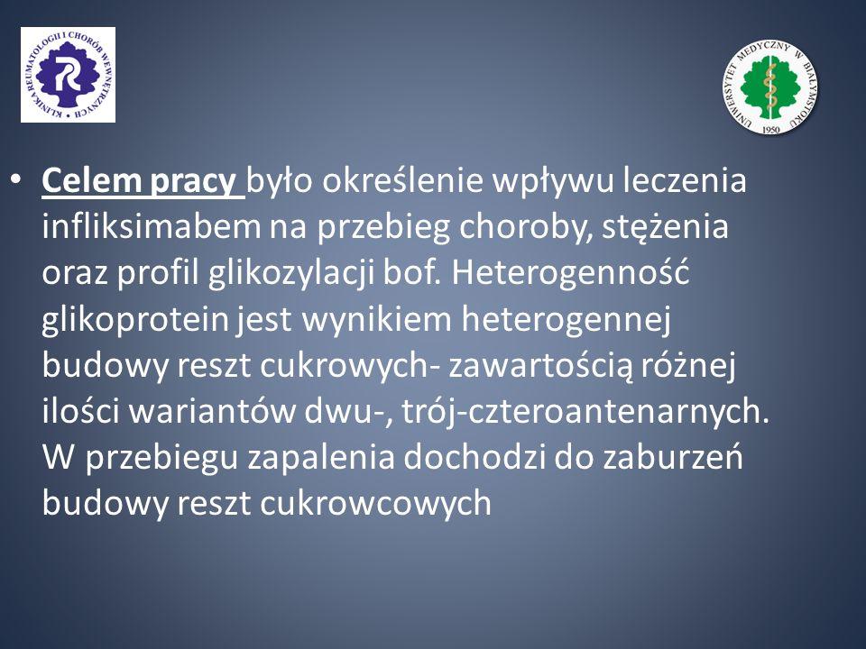 Celem pracy było określenie wpływu leczenia infliksimabem na przebieg choroby, stężenia oraz profil glikozylacji bof.