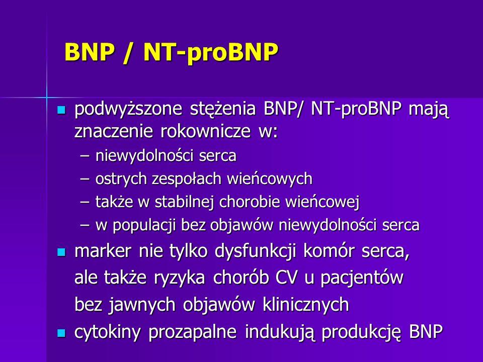 BNP / NT-proBNP podwyższone stężenia BNP/ NT-proBNP mają znaczenie rokownicze w: niewydolności serca.