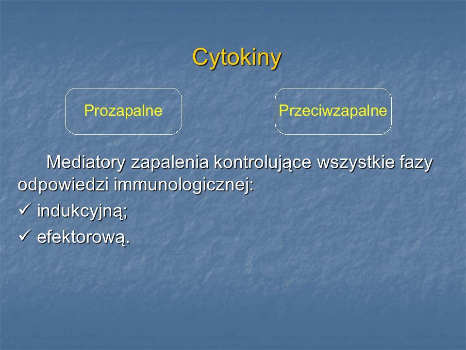 Cytokiny Mediatory zapalenia kontrolujące wszystkie fazy odpowiedzi immunologicznej: indukcyjną; efektorową.