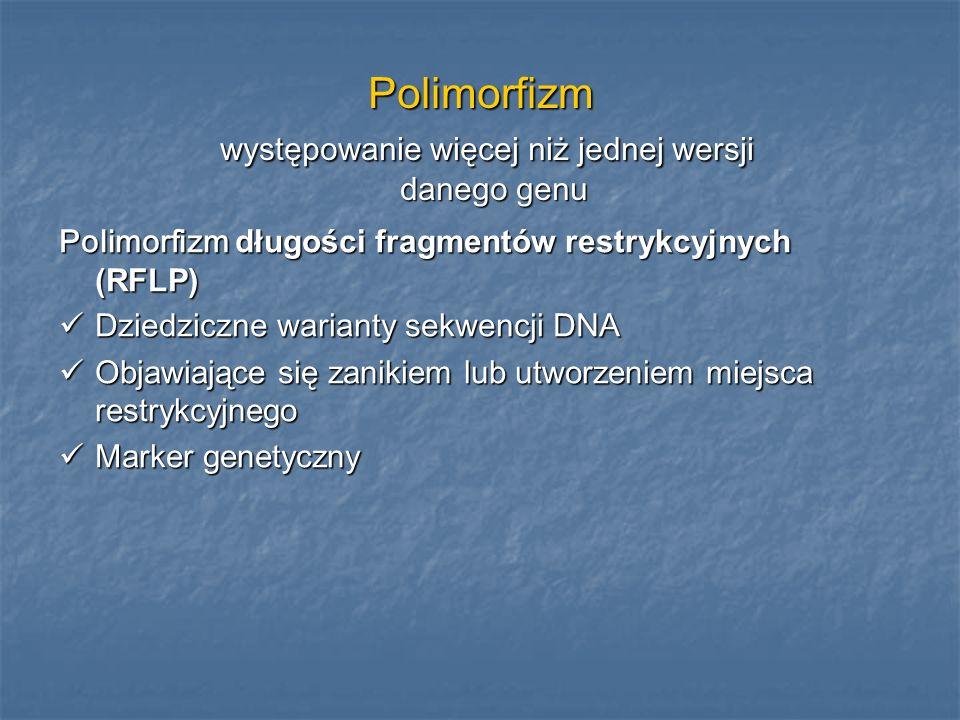 Polimorfizm występowanie więcej niż jednej wersji danego genu