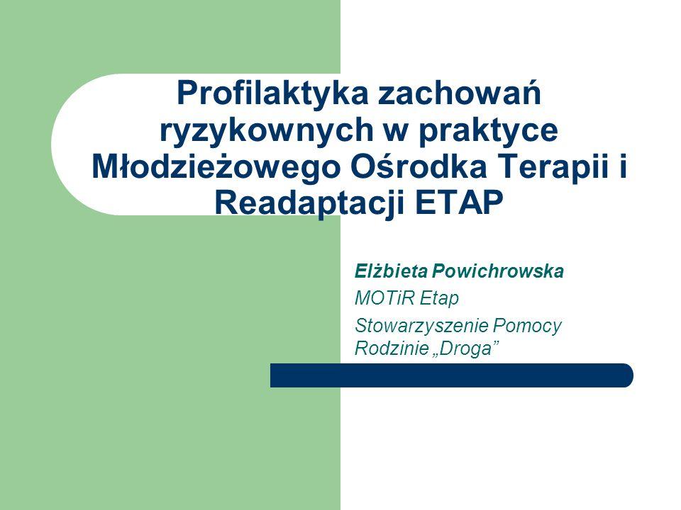 Profilaktyka zachowań ryzykownych w praktyce Młodzieżowego Ośrodka Terapii i Readaptacji ETAP