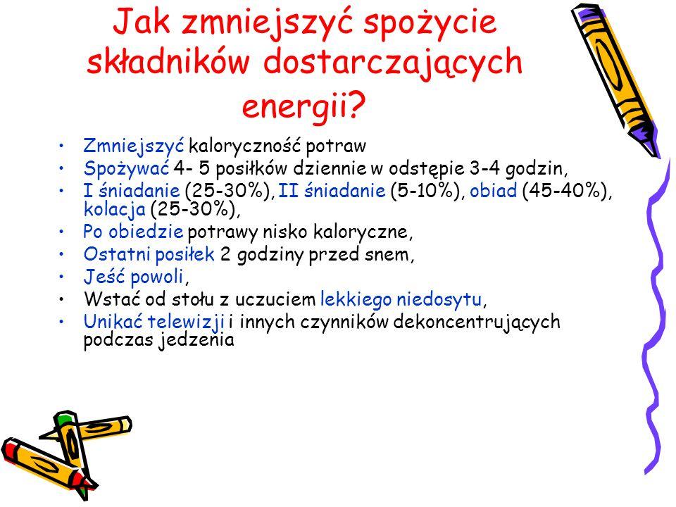Jak zmniejszyć spożycie składników dostarczających energii