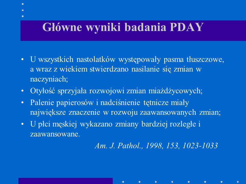 Główne wyniki badania PDAY