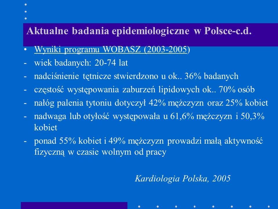 Aktualne badania epidemiologiczne w Polsce-c.d.