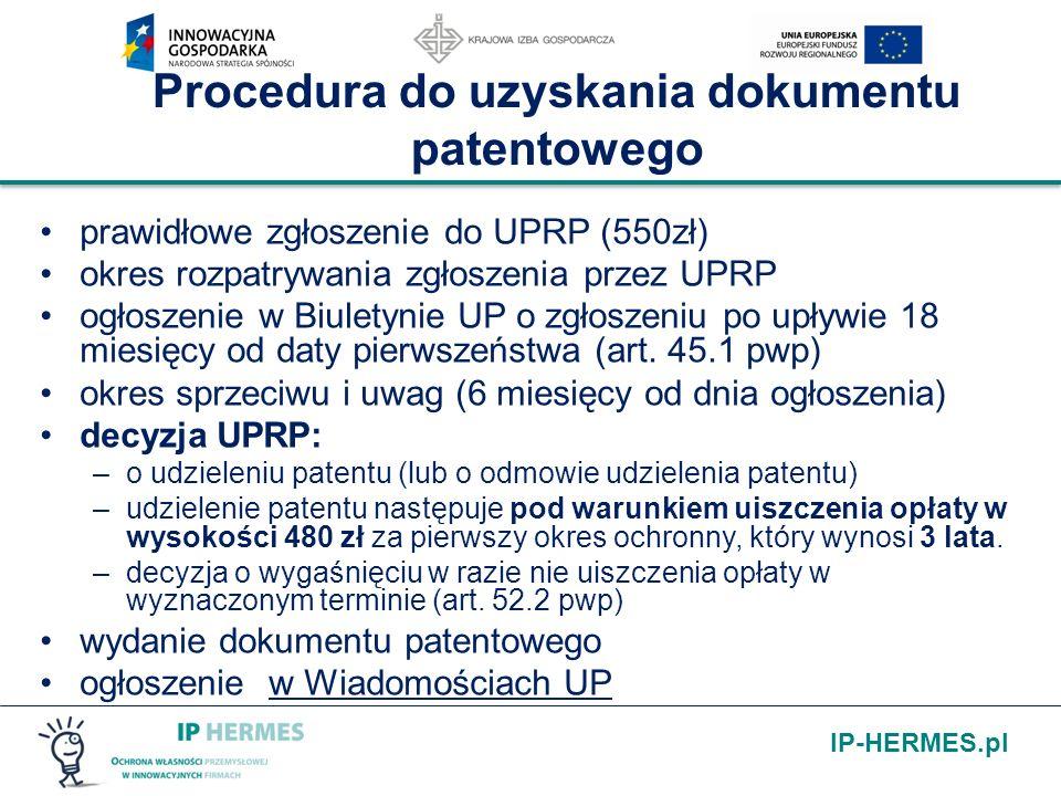 Procedura do uzyskania dokumentu patentowego