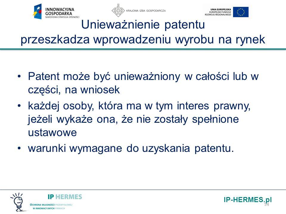Unieważnienie patentu przeszkadza wprowadzeniu wyrobu na rynek