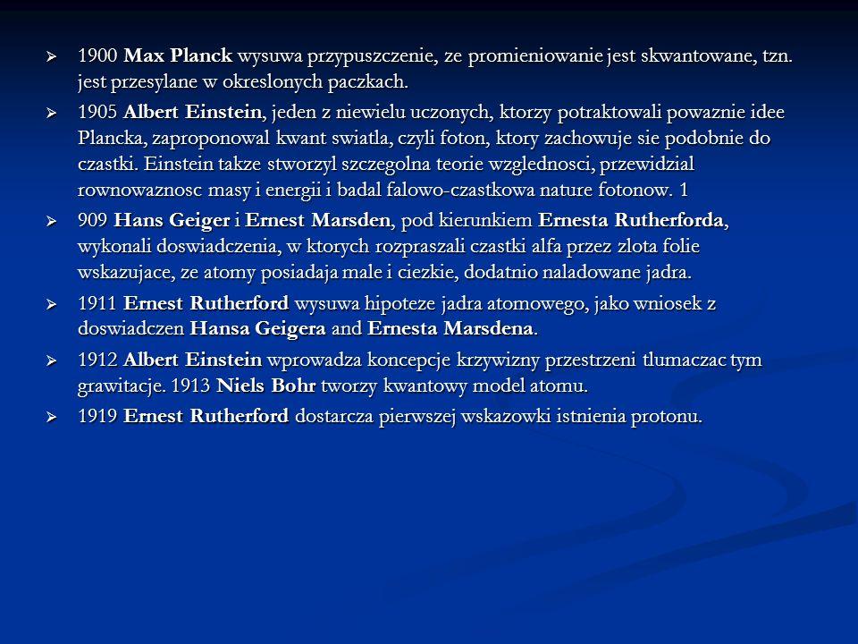 1900 Max Planck wysuwa przypuszczenie, ze promieniowanie jest skwantowane, tzn. jest przesylane w okreslonych paczkach.