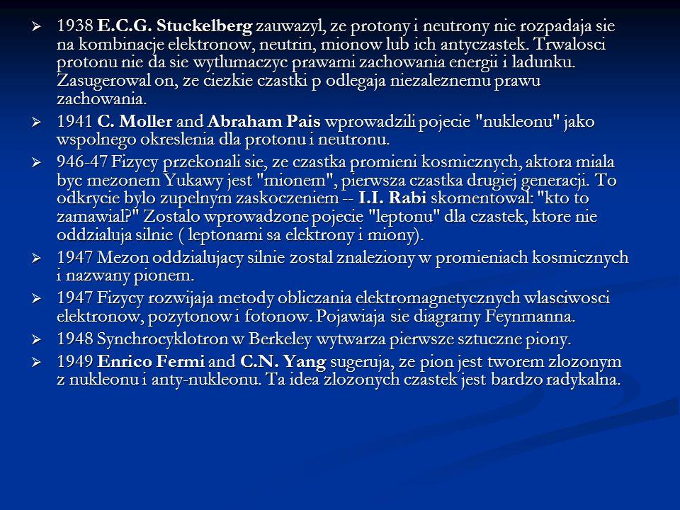 1938 E.C.G. Stuckelberg zauwazyl, ze protony i neutrony nie rozpadaja sie na kombinacje elektronow, neutrin, mionow lub ich antyczastek. Trwalosci protonu nie da sie wytlumaczyc prawami zachowania energii i ladunku. Zasugerowal on, ze ciezkie czastki p odlegaja niezaleznemu prawu zachowania.