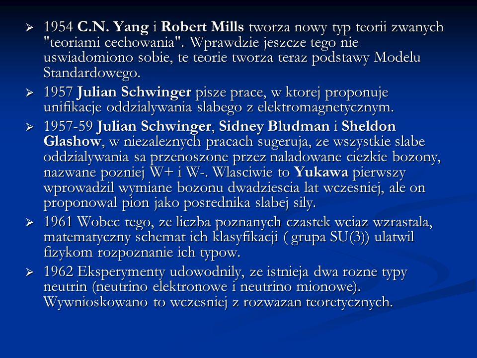 1954 C.N. Yang i Robert Mills tworza nowy typ teorii zwanych teoriami cechowania . Wprawdzie jeszcze tego nie uswiadomiono sobie, te teorie tworza teraz podstawy Modelu Standardowego.