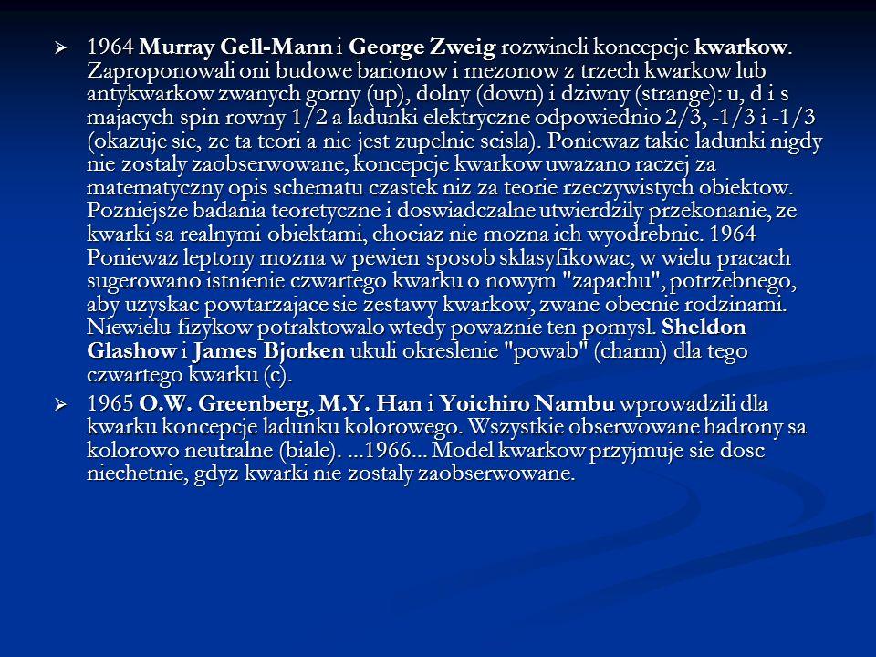 1964 Murray Gell-Mann i George Zweig rozwineli koncepcje kwarkow