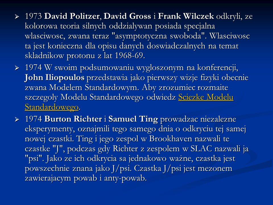1973 David Politzer, David Gross i Frank Wilczek odkryli, ze kolorowa teoria silnych oddzialywan posiada specjalna wlasciwosc, zwana teraz asymptotyczna swoboda . Wlasciwosc ta jest konieczna dla opisu danych doswiadczalnych na temat skladnikow protonu z lat 1968-69.