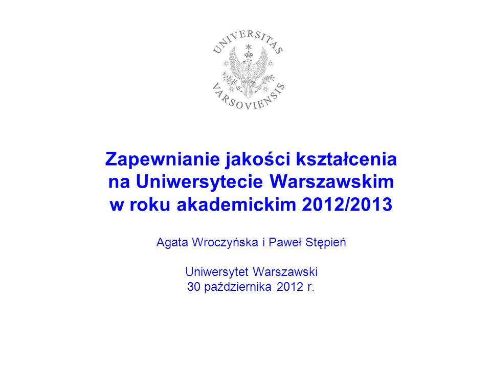 Zapewnianie jakości kształcenia na Uniwersytecie Warszawskim w roku akademickim 2012/2013 Agata Wroczyńska i Paweł Stępień Uniwersytet Warszawski 30 października 2012 r.
