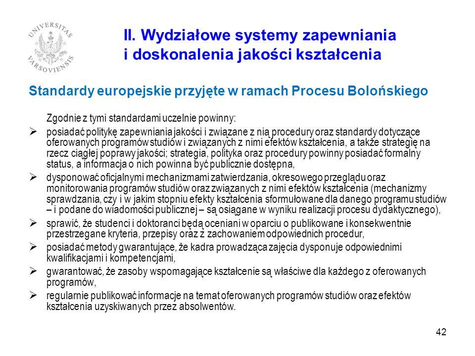 II. Wydziałowe systemy zapewniania i doskonalenia jakości kształcenia