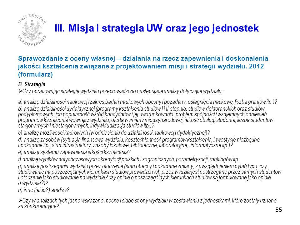 III. Misja i strategia UW oraz jego jednostek