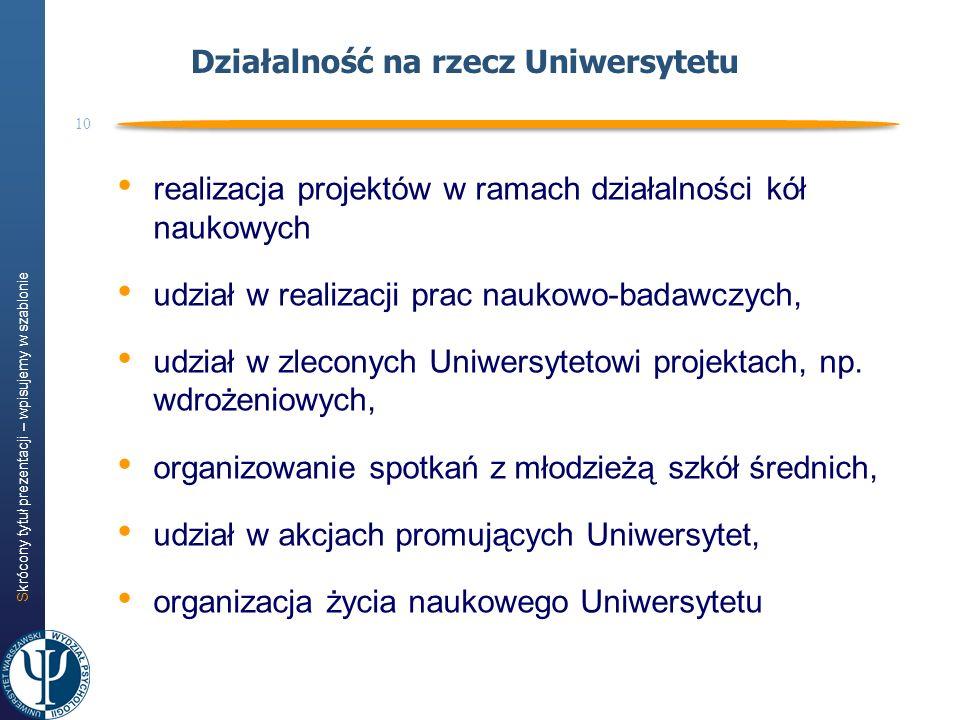 Działalność na rzecz Uniwersytetu