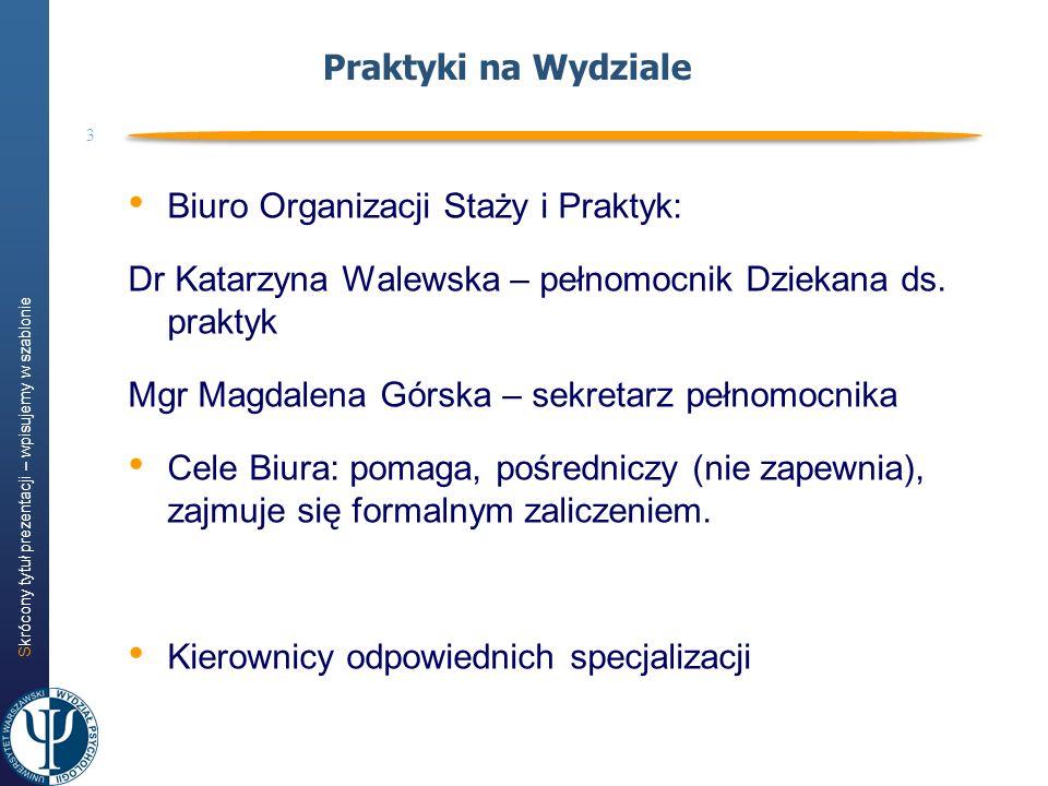 Praktyki na Wydziale Biuro Organizacji Staży i Praktyk: Dr Katarzyna Walewska – pełnomocnik Dziekana ds. praktyk.